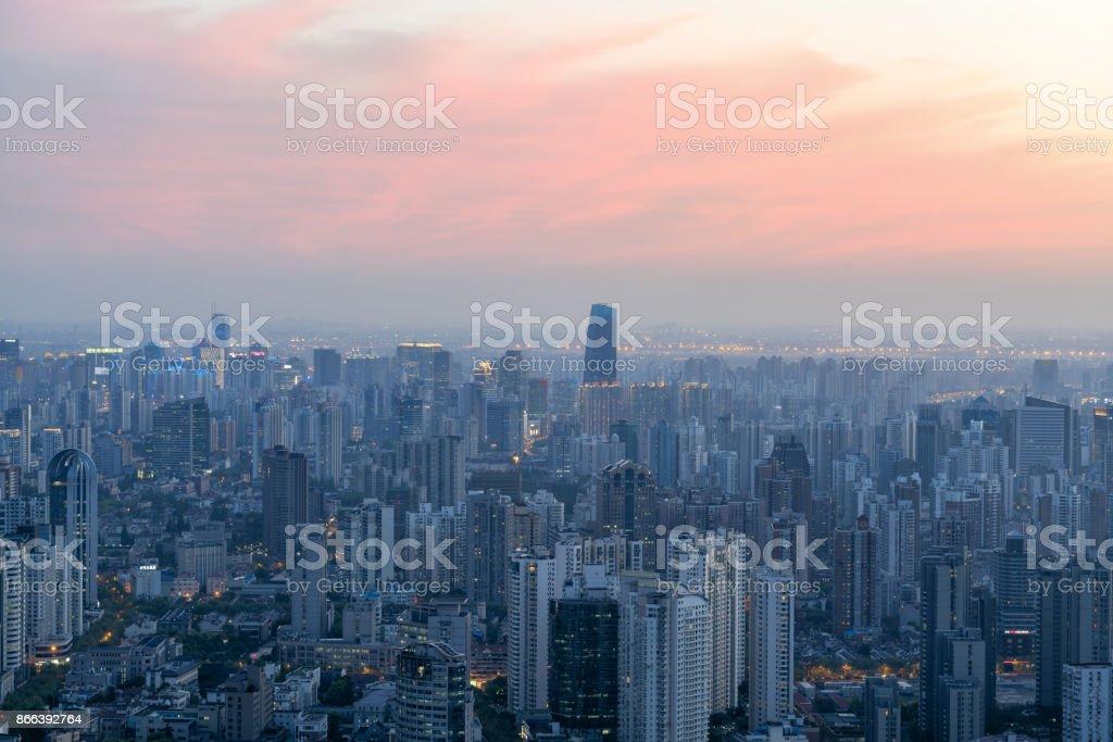 Sunrise panorama of Shanghai stock photo