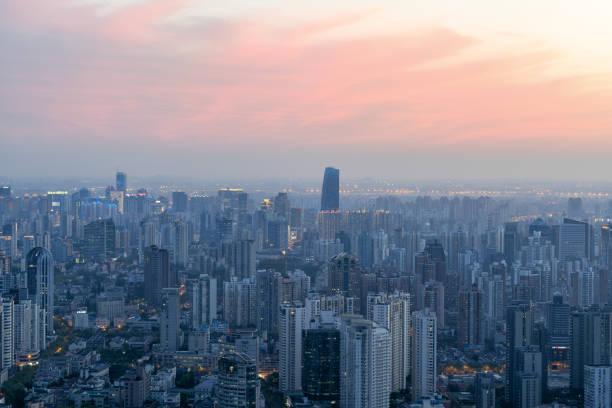 Sonnenaufgang panorama von Shanghai – Foto