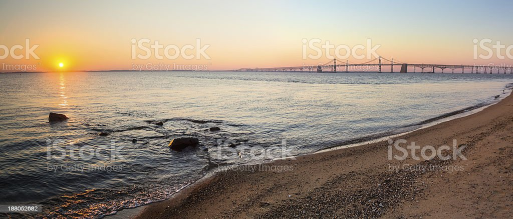 Sunrise panorama view of the Chesapeake Bay Bridge stock photo