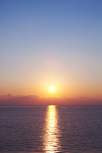 Sunrise on the beach (Kefalonia, Greece).