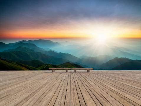 sunrise on the peak, wugong mountain at jiangxi china.