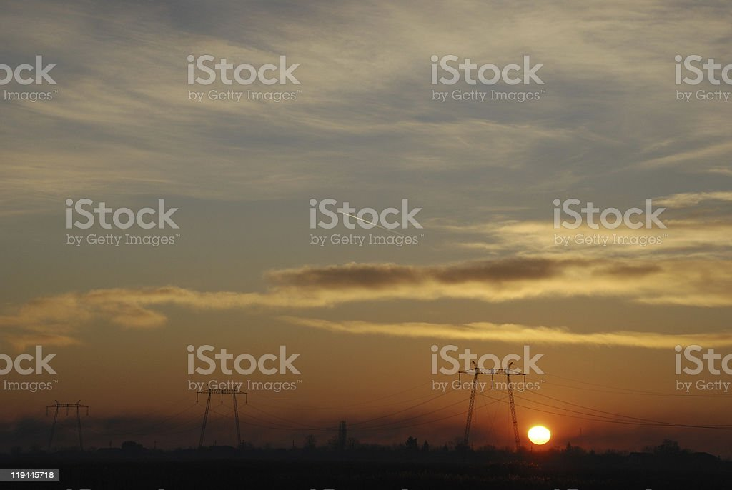 sunrise power lines royalty-free stock photo