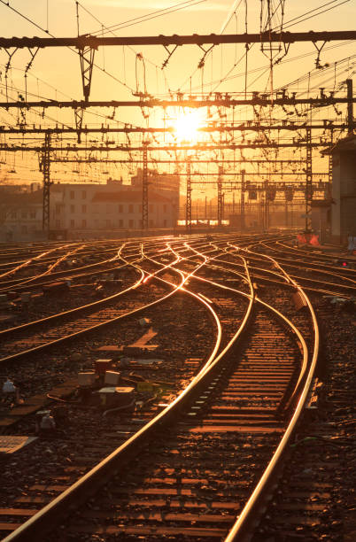 sunrise railroad - railway signal stock photos and pictures