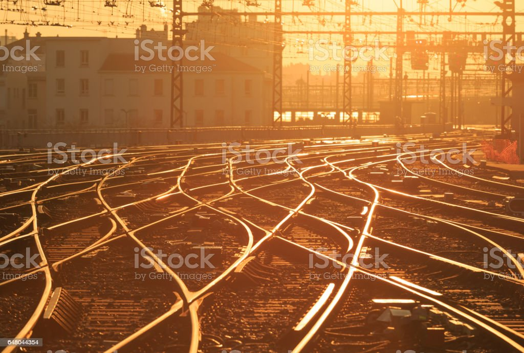 Sunrise railroad stock photo