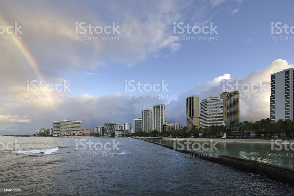 Sunrise Rainbow over Waikiki royalty-free stock photo