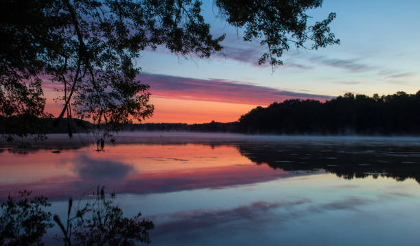 Sunrise Reflected on the Connecticut River stock photo