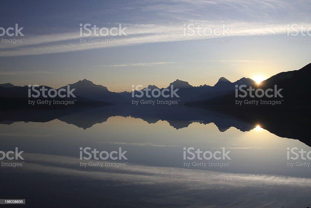 Sunrise Reflection over Lake McDonald royalty-free stock photo