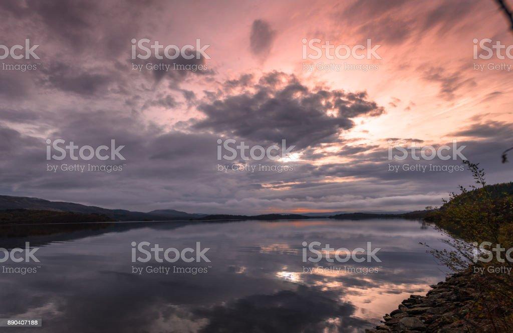 Sunrise reflection stock photo