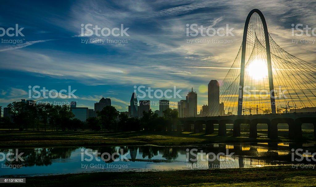 Sunrise Reflections Dallas Texas Skyline with Bridge stock photo