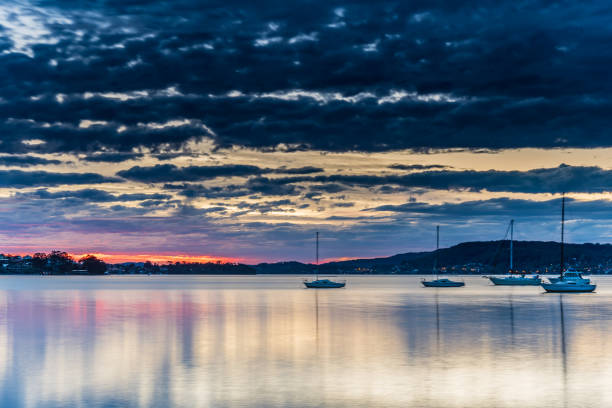 Sunrise River Waterscape with Beautiful Light stock photo