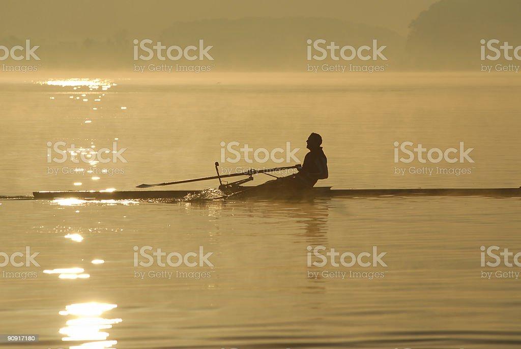 Sunrise rower royalty-free stock photo