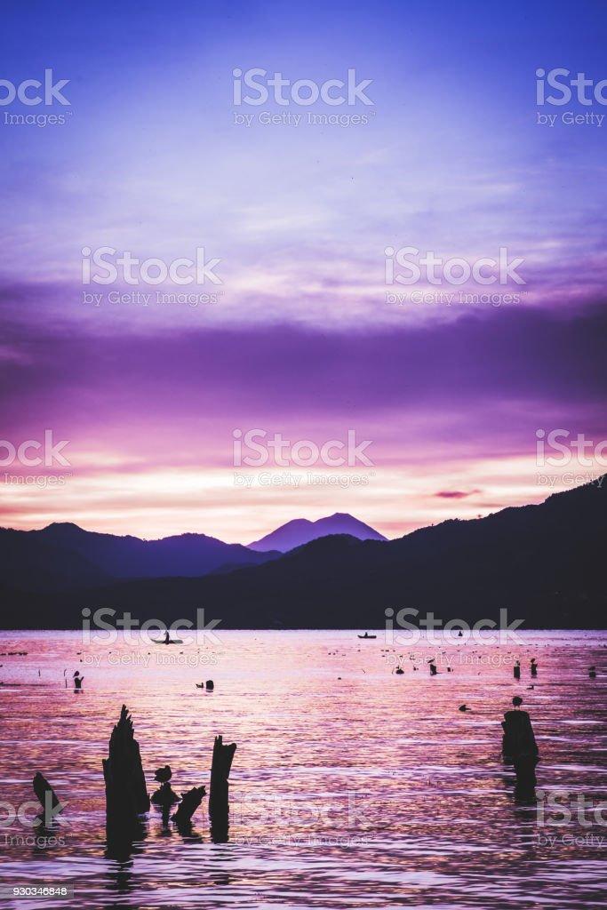 Sunrise, San Pedro la Laguna, Guatemala stock photo