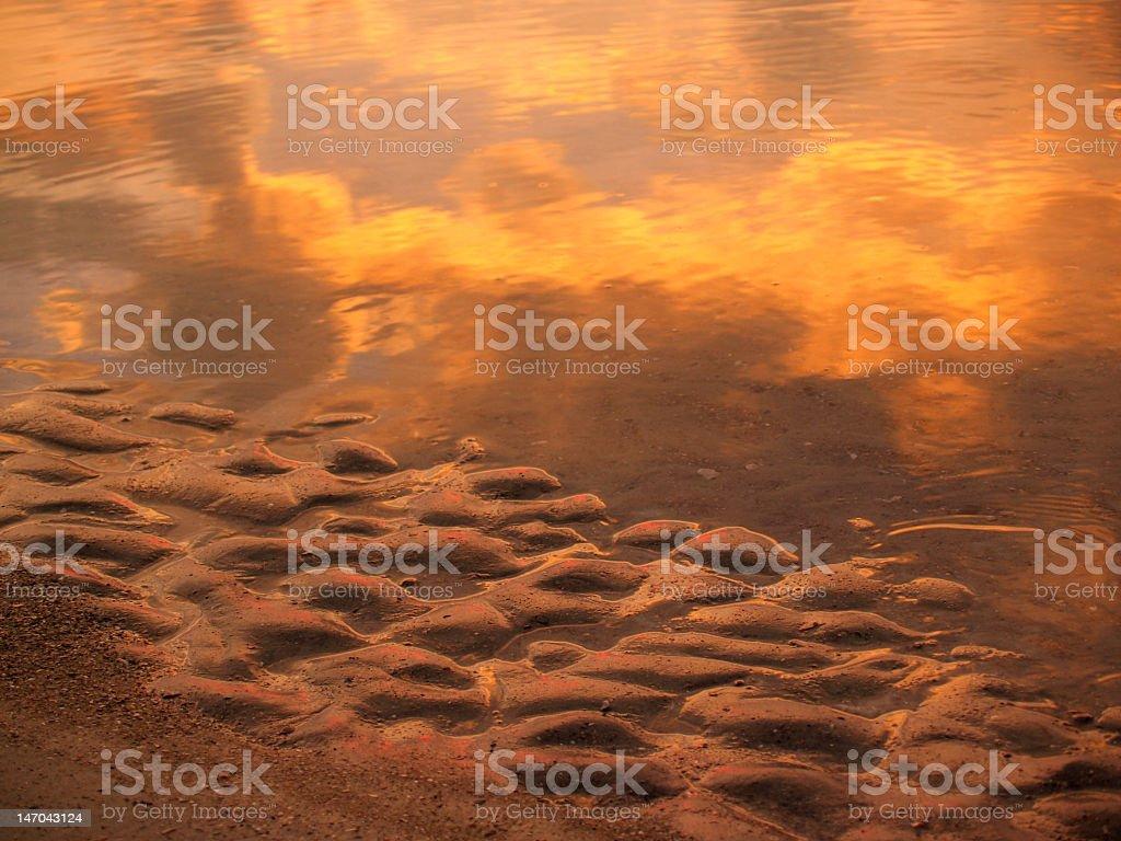 Sunrise Sand and Sea Reflections, Hunting Island, South Carolina stock photo