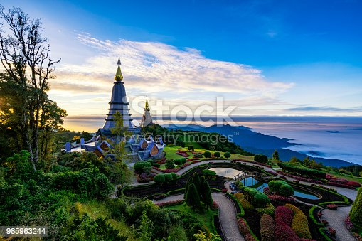 istock Sunrise scence of two pagoda on the top of Inthanon mountain in doi Inthanon national park, Chiang Mai, Thailand. 965963244