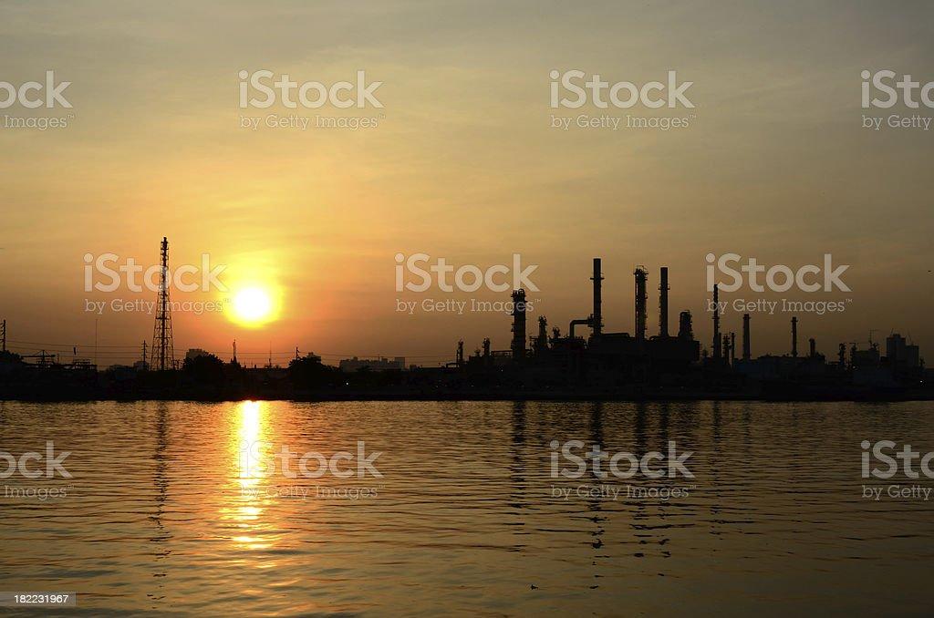 Sunrise scene of Oil refinery royalty-free stock photo