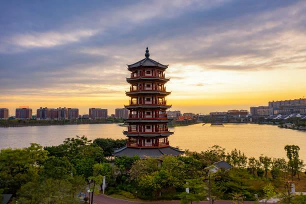 huayang gölü sulak park gündoğumu manzara, dongguan, guangdong eyaleti, çin - guangdong i̇li stok fotoğraflar ve resimler