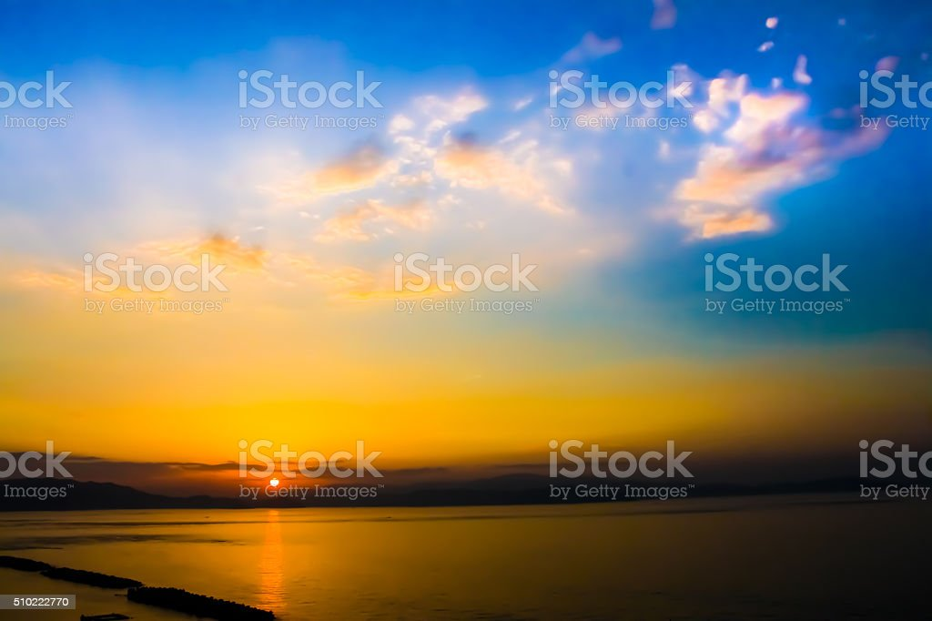 Sunrise sea of Naruto in the Seto Inland Ocean stock photo