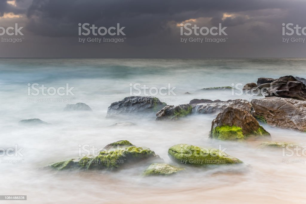 Sunrise Seascape and Soft Swirls stock photo