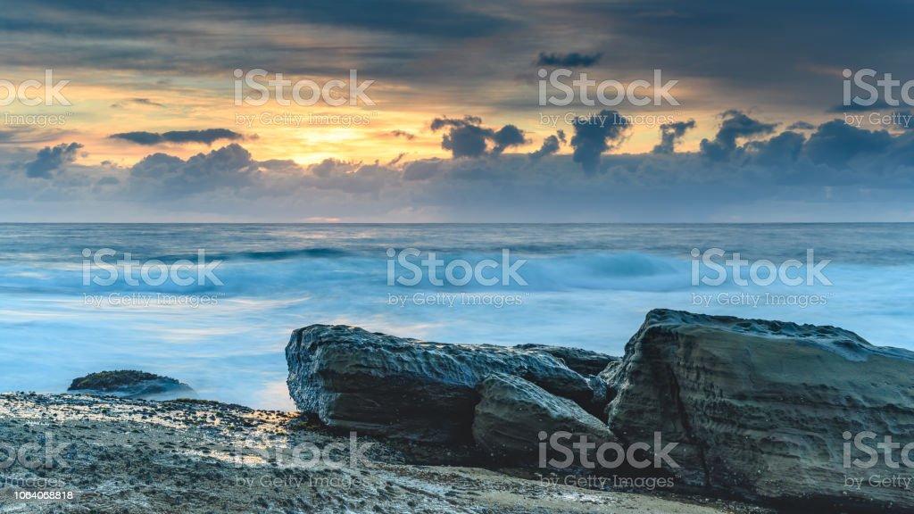 Sunrise Seascape at the Skillion stock photo