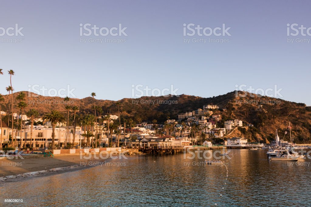 Sunrise seascape in Avalon Harbor looking toward the beach and small town stock photo