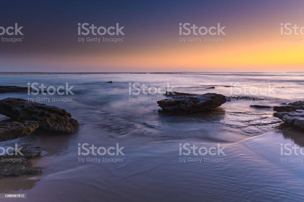 Sunrise Seascape with Purple and Orange stock photo