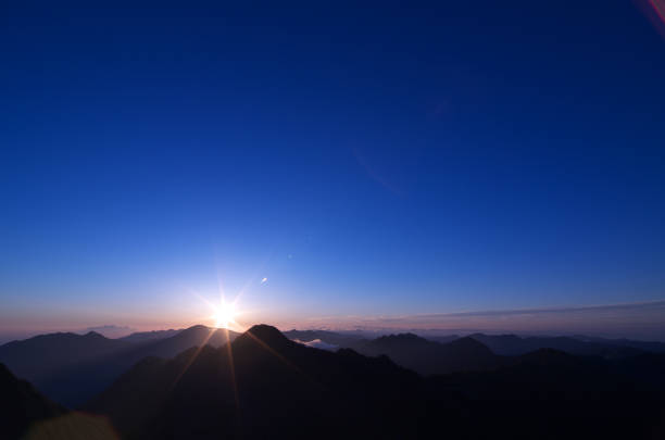 sunrise seen from the top of kamegamori, shikoku, japan. - dawn stock pictures, royalty-free photos & images