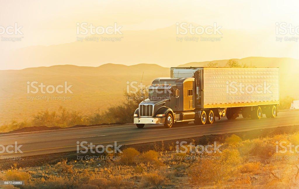 Sunrise Semi Truck stock photo