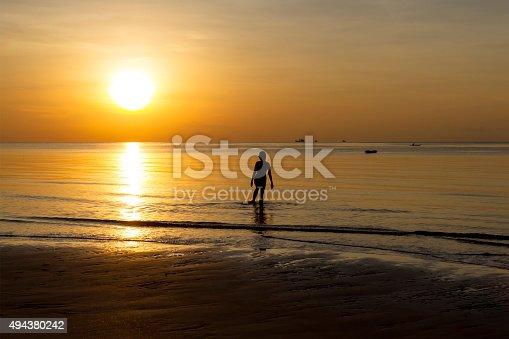 494377786istockphoto Sunrise show action woman silhouette 494380242