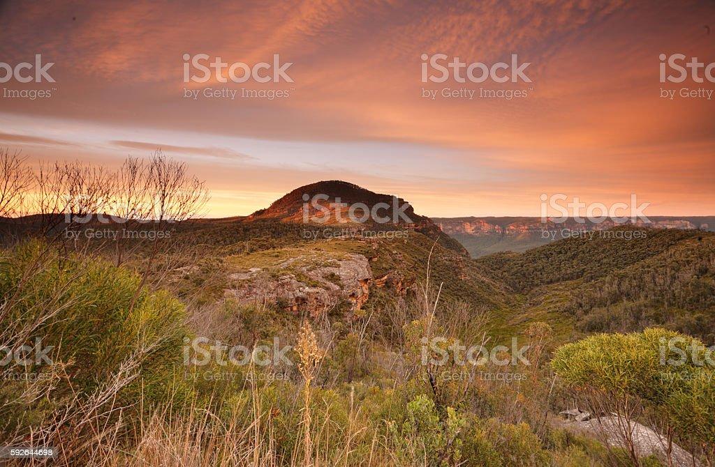 Sunrise skies over Mount Banks Blue Mountains stock photo
