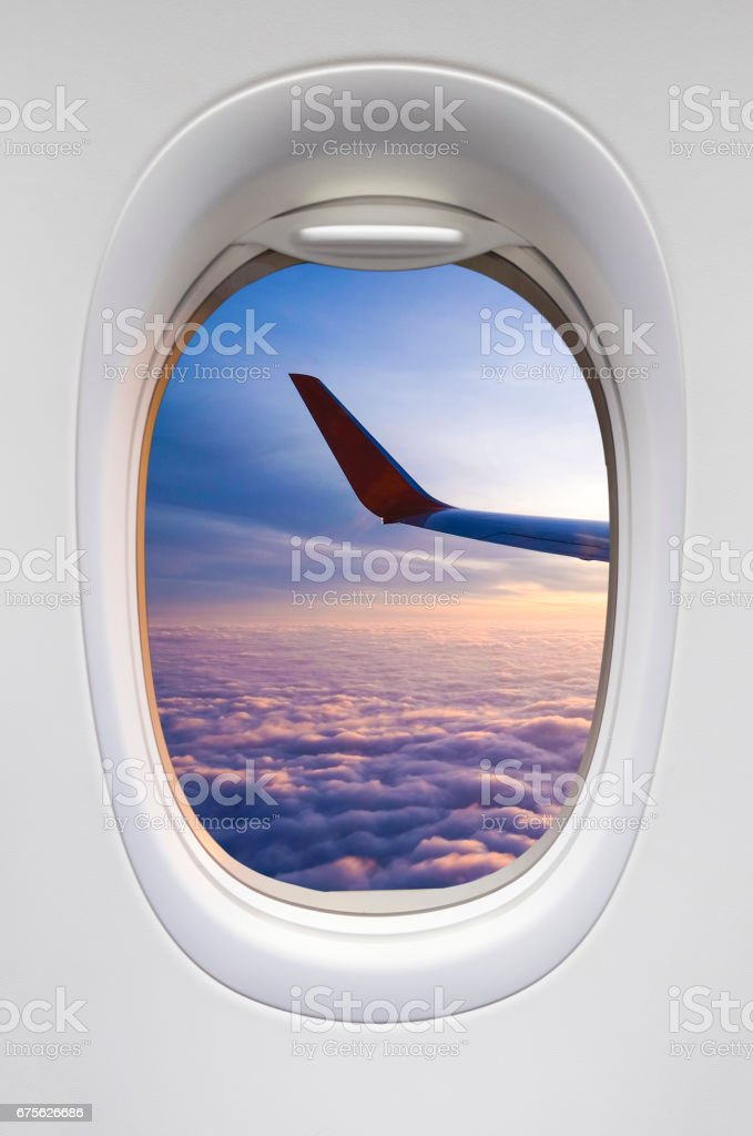 Sunrise sky from the airplane stock photo