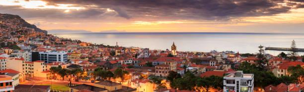 Sunrise skyline cityscape Funchal stock photo