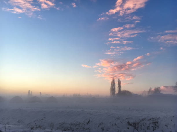 Sunrise snow stock photo