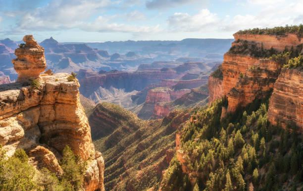 sonnenaufgang in den grand canyon am desert view straße ziehen über verschütten - canyon stock-fotos und bilder