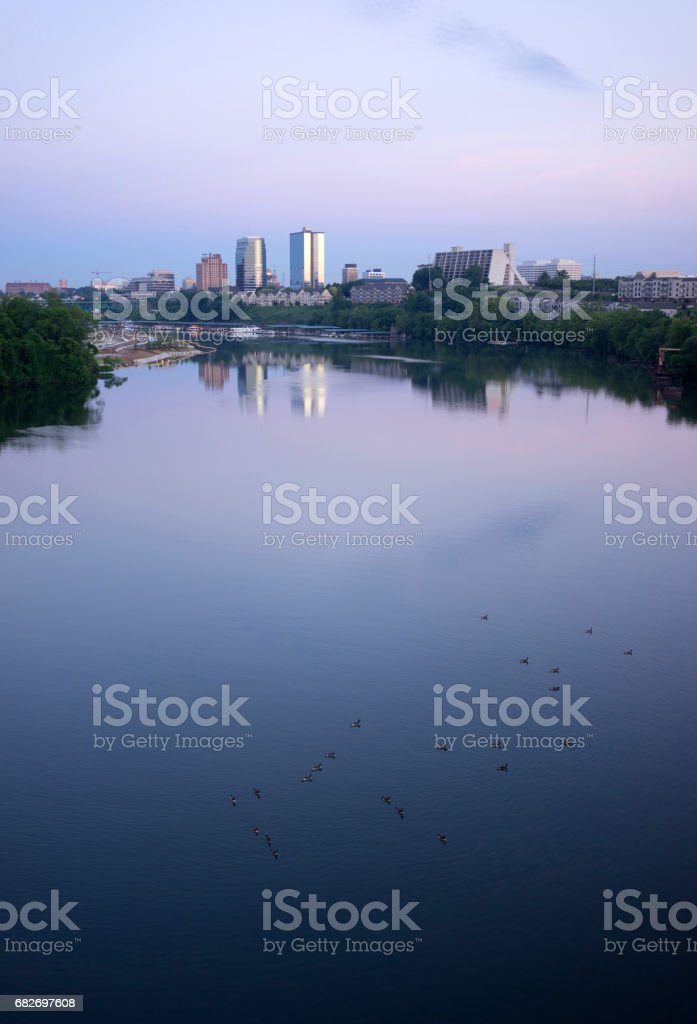 Sunrise Tennessee River Waterbirds Knoxville Downtown City Skyline stock photo