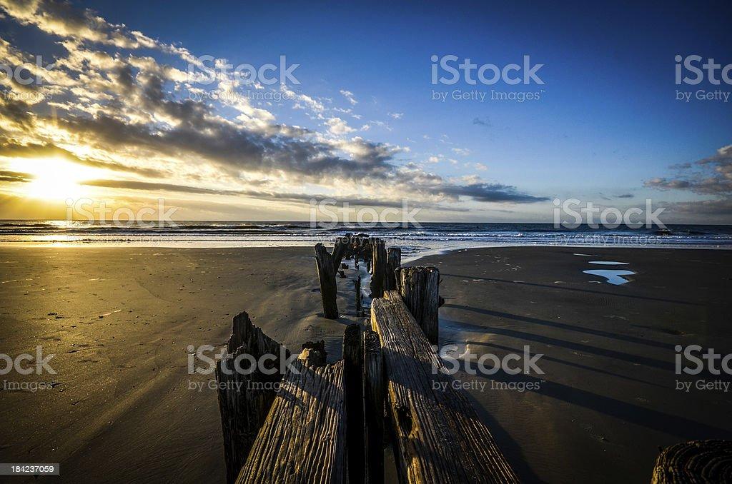 Sunrise, The Washout, Folly Beach, Charleston, SC stock photo