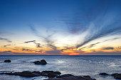 Sunrise time  on the beach in Phu Yen, Vietnam