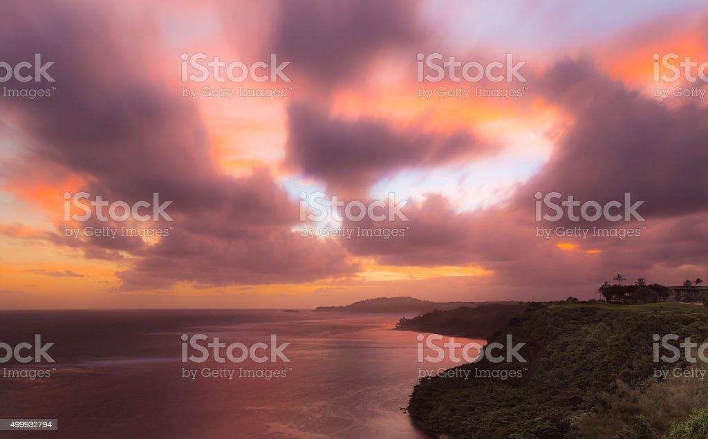 Sunrise to Kilauea Lighthouse in Kauai stock photo