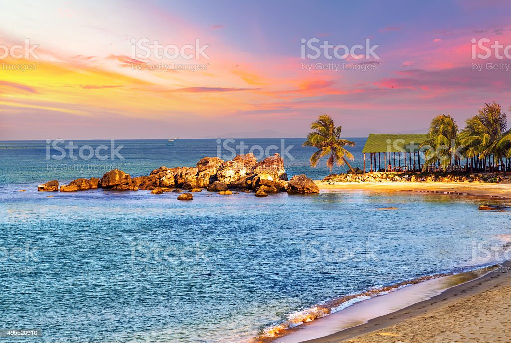Sunrise Tropical landscape sea stock photo