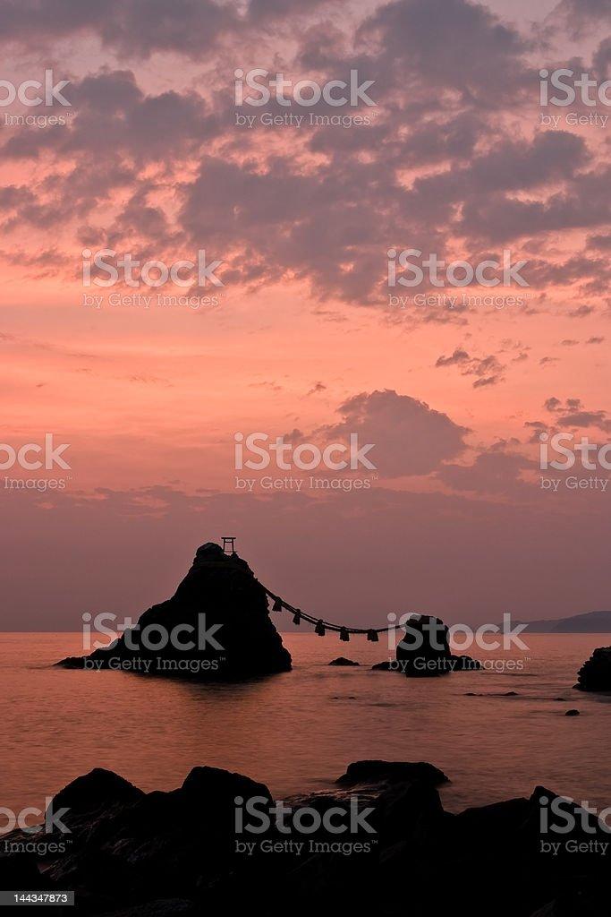 Sunrise upon  Meoto Iwa 'Wedded Rocks' stock photo