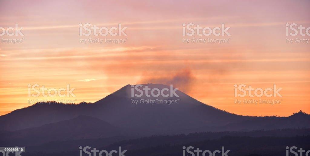 Sunrise view at Kawah Ijen crater stock photo