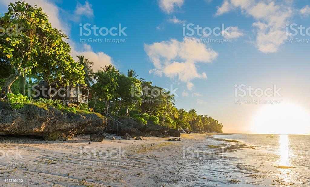 Sunrise view at the Anda White Long Beach at Bohol stock photo
