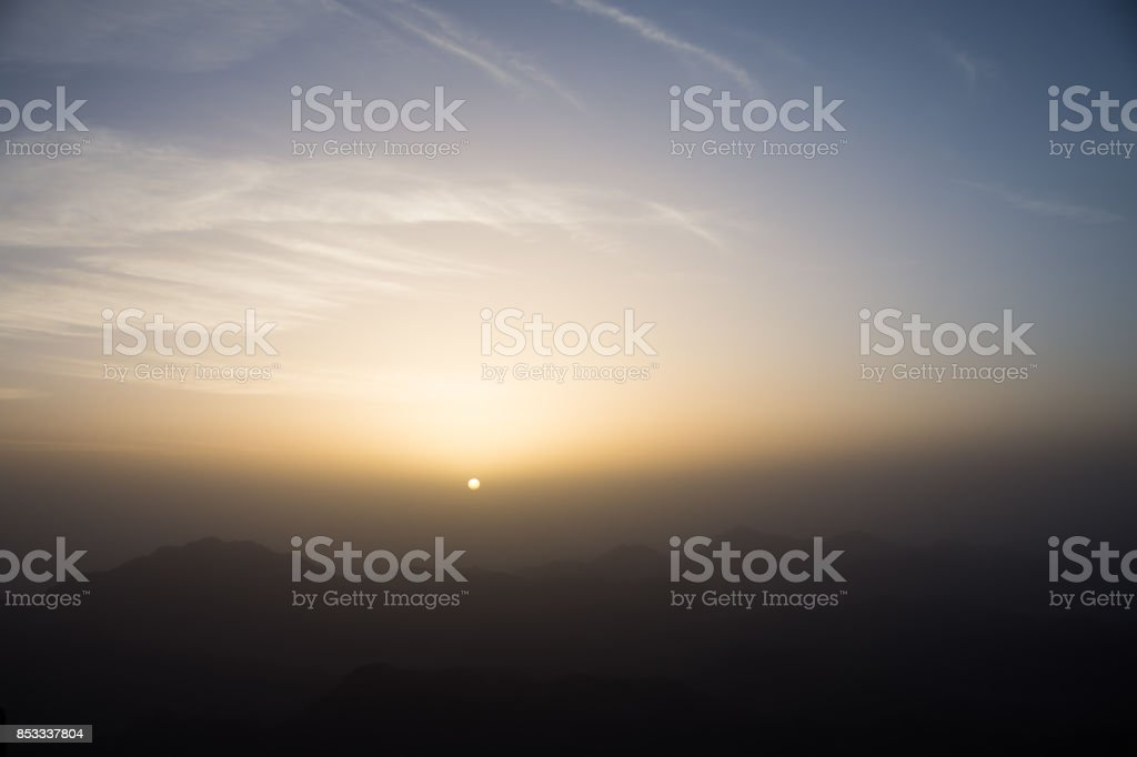 sunrise view at the top of mount Sinai stock photo