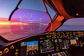 Heads up display on a modern generation commercial jet aircraft.  The HUD is becoming commonplace on the latest fleets of aircraft offering pilots their most important information without having to glance down at the flight instruments