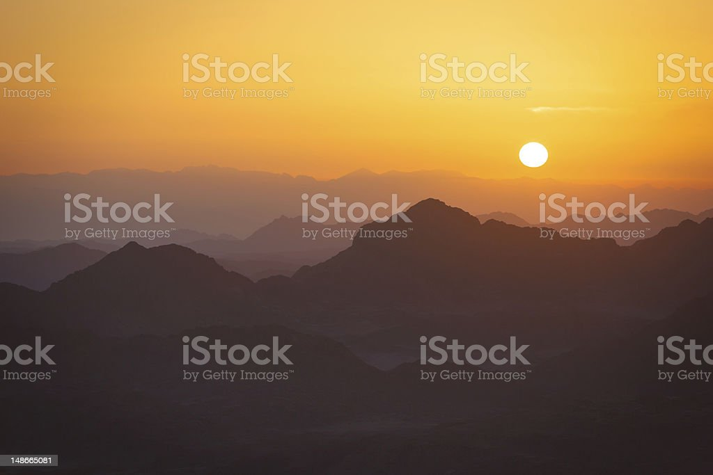 Sunrise view from the Mount Sinai stock photo