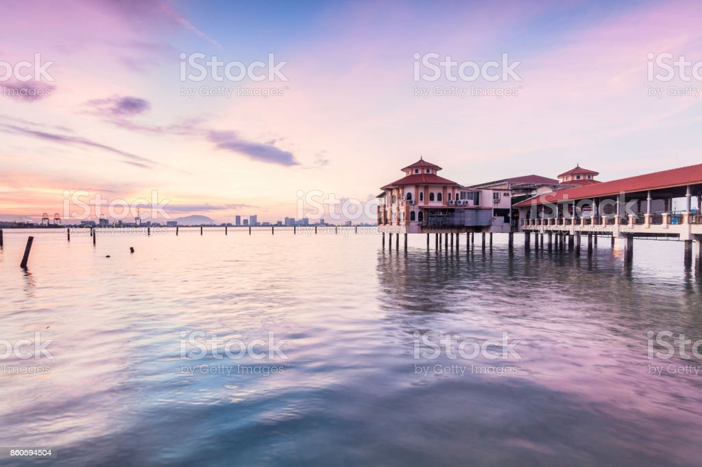 Sunrise view in George Town Penang with jetty background stock photo