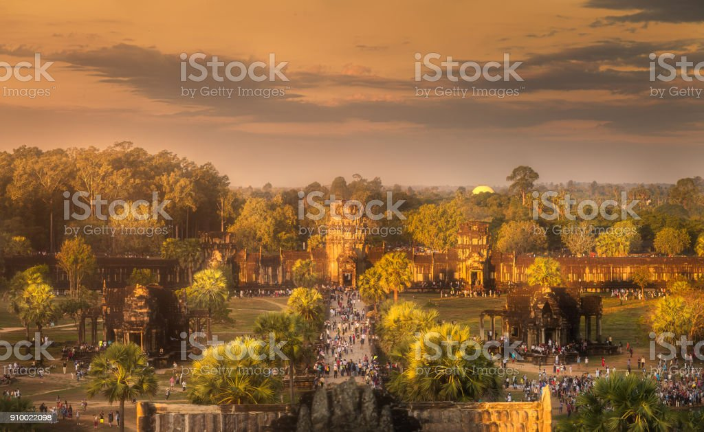 Sunrise view of ancient temple complex Angkor Wat Siem Reap, Cambodia stock photo