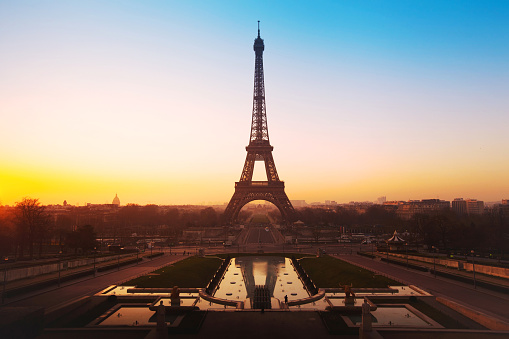 sunrise view of Eiffel tower from Trocadero