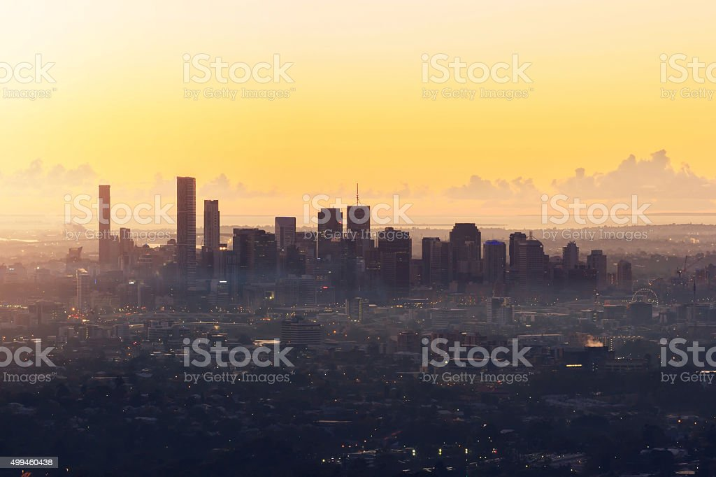 Sunrise View of the Brisbane City from Mount Coot-tha. Queenslan stock photo