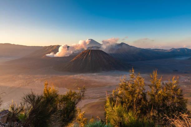 Sunrise view of the Bromo volcano, Indonesia stock photo