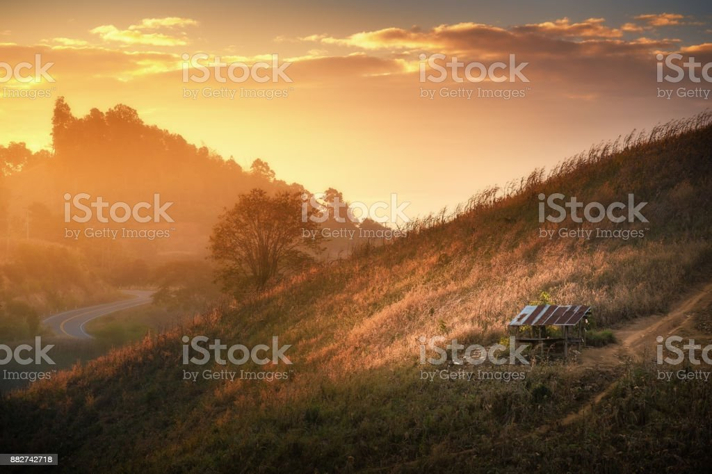 Sunrise view on hill stock photo